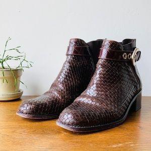 Brighton Leather Woven Booties with Buckle